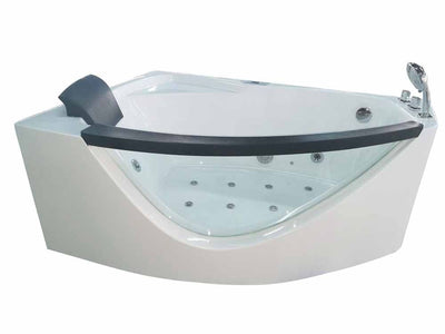 EAGO AM198-R 5' Right Drain Rounded Clear Modern Corner Whirlpool Freestanding Bathtubs Front View White Background
