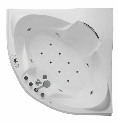EAGO AM208ETL 5 ft Corner Acrylic White Waterfall Whirlpool Bathtub for Two Top View White Background