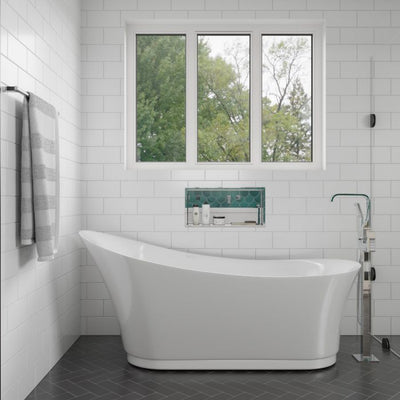 EAGO AM2140 Six Foot White Freestanding Air Bubble Bathtub