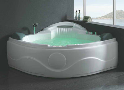 EAGO AM505 61'' 2 Person 14 Jets Corner Waterfall White Whirlpool Freestanding Bathtubs Front View in Bathroom