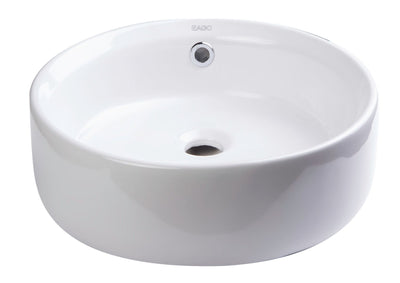 EAGO BA129 16'' Above Mount White Round Porcelain Bathroom Sink With Overflow