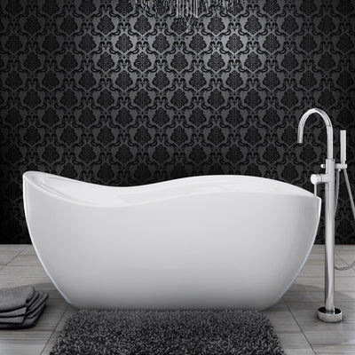 "A & E Bath and Shower Axel 68"" Premium Oval Freestanding Bathtub Package Front View in Bathroom"