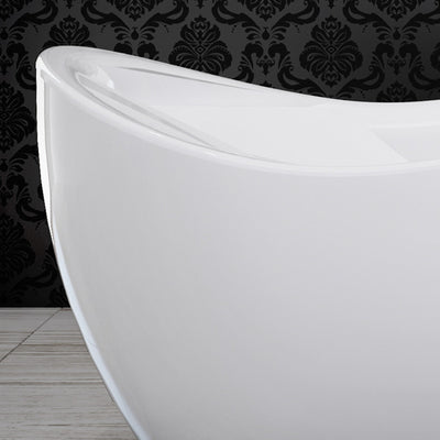 "A & E Bath and Shower Axel 68"" Premium Oval Freestanding Bathtub Package Left Side Edge"