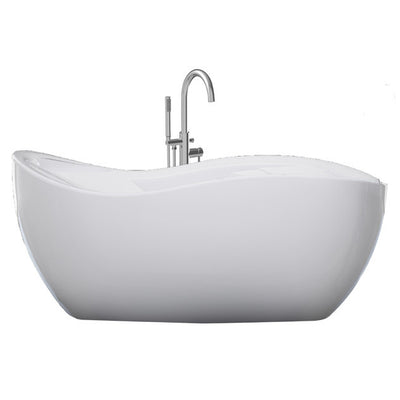 "A & E Bath and Shower Axel 68"" Premium Oval Freestanding Bathtub Package Front View White Background"
