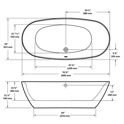 "A & E Bath and Shower Sequin Acrylic 71"" All-in-One Oval Freestanding Tub Kit Freestanding Clawfoot Bathtubs Measurements"
