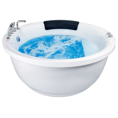 EAGO AM206RD Modern Round Whirlpool with Fixtures Freestanding Bathtubs Front View with Water White Background
