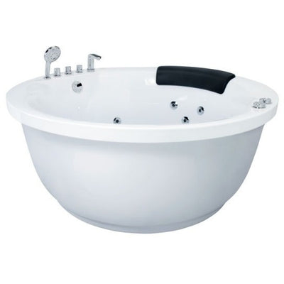 EAGO AM206RD Modern Round Whirlpool with Fixtures Freestanding Bathtubs Front View White Background