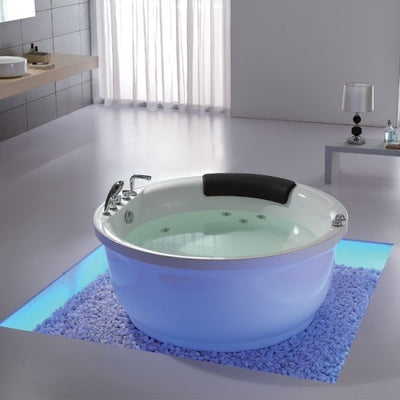 Eago Am206rd Modern Freestanding Round Whirlpool Tub With Fixtures