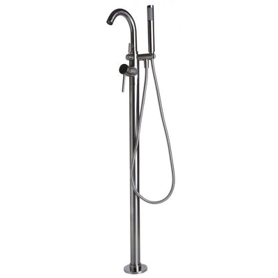 Alfi Brand AB2534 Floor Mount Tub Filler with Shower Head Polished/Brushed
