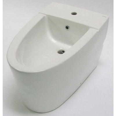 EAGO JA3400 Modern White Ceramic Bathroom Bidet with Elongated Seat