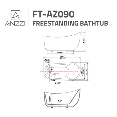 ANZZI Talyah Series FT-AZ090 5.92 ft. Freestanding Bathtub in White