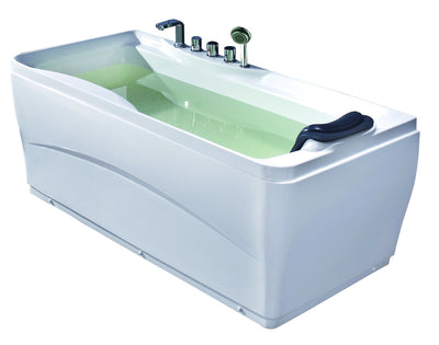"EAGO LK1102-L White Acrylic 63"" Soaking Tub with Fixtures"