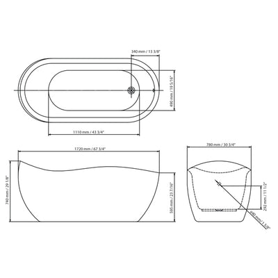 "A & E Bath and Shower Axel 68"" Premium Oval Freestanding Bathtub Package Measurements"