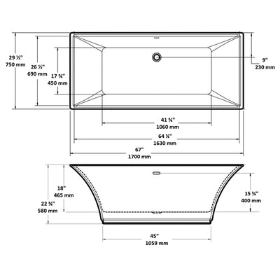"A & E Bath and Shower Abzu Acrylic 67"" Premium All-in-One Rectangular Freestanding Tub Kit Measurements"
