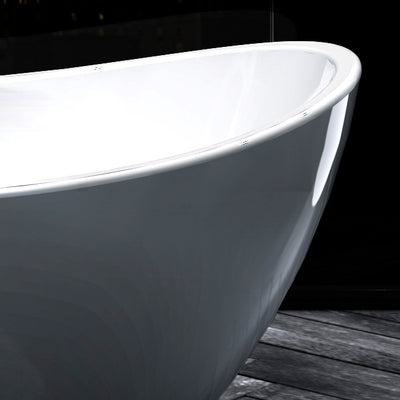 "A & E Bath and Shower Turin Acrylic 69"" All-in-One Oval Freestanding Tub Kit Freestanding Clawfoot Bathtubs Right Side Edge View"