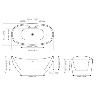"A & E Bath and Shower Turin Acrylic 69"" All-in-One Oval Freestanding Tub Kit Freestanding Clawfoot Bathtubs Measurements"