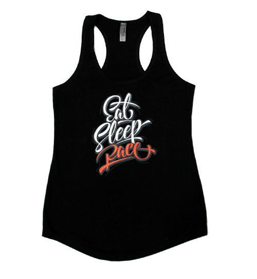 Eat Sleep Race Script Tank Top - Svart