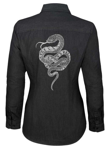 Blouse modemusthaves denim snake