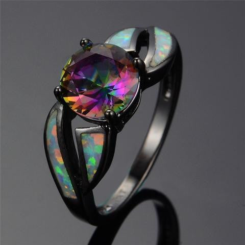 8 Type Black Filled Fire Opal Ring