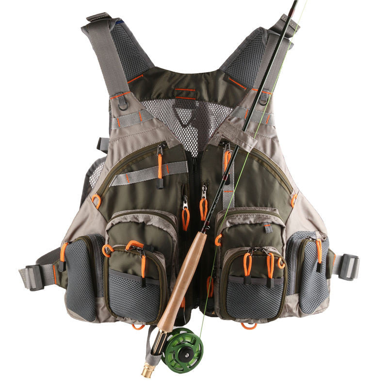 cheap fishing vest with fishing pole holder