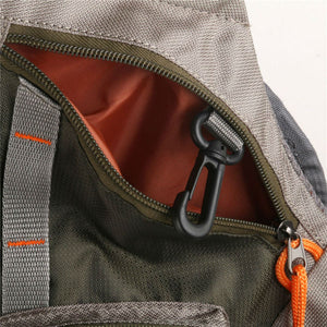 light fishing vest with pockets and a fishing rod holder