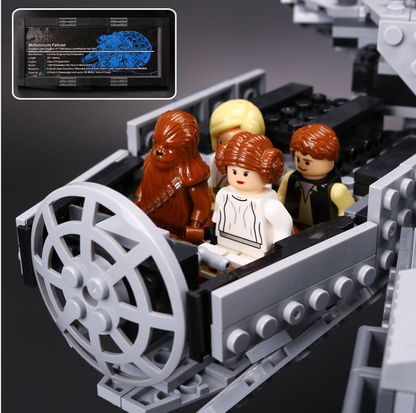 Millennium Falcon set with toys for star wars fans