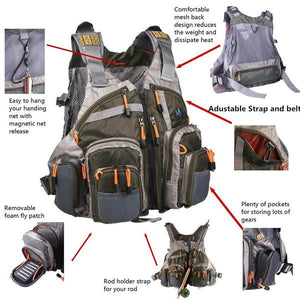 Army and military style camping vest for hunting and fishing with special pockets
