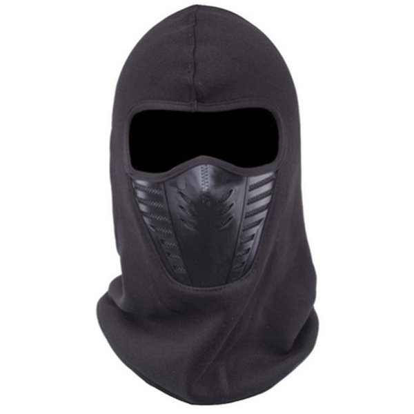 Black full face mask for snowboarding and winter storms