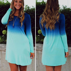 BLUE OCEAN LONG SLEEVE MINI DRESS