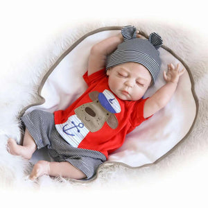 Brinquedo 23 Inch Realistic Reborn Babies Full Silicone Vinyl Lifelike Boy Body Baby Dolls With Closed Eyes Kids Sleeping Toy