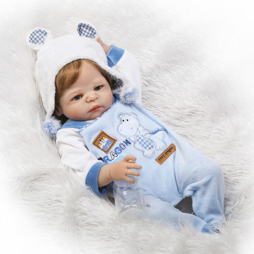 NPK 2017 New 23 Inch Reborn Vinyl Dolls Realistic Baby Doll Boy Full Silicone Lifelike Reborn Baby Toys For Kids Birthday Gifts
