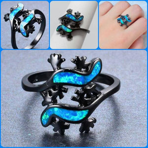 Blue Fire Opal - Lizard Ring (FREE SHIPPING)