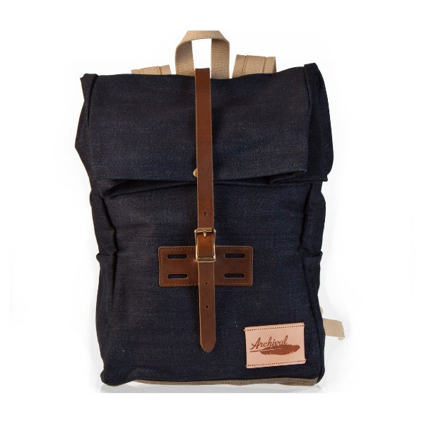 Brown Roll Top - Denim/Twill Waxed Bag