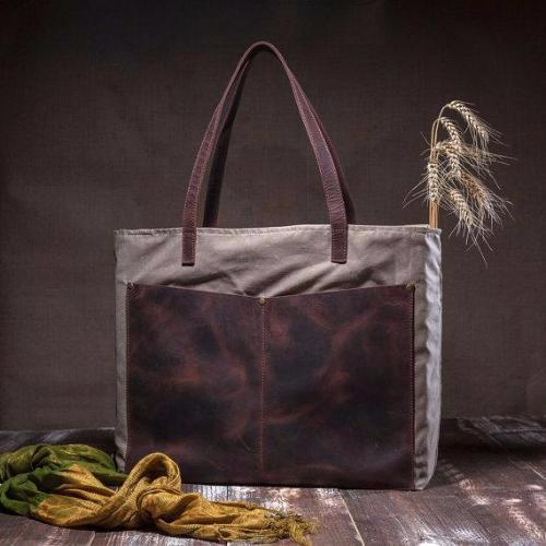 Canvas tote bag - shoulder tote bag - with leather pocket and leather straps by TRAM21