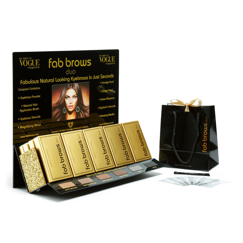 Pro Point Of Sale Stand Including 20 Fab Brows DUO Eyebrow Kits