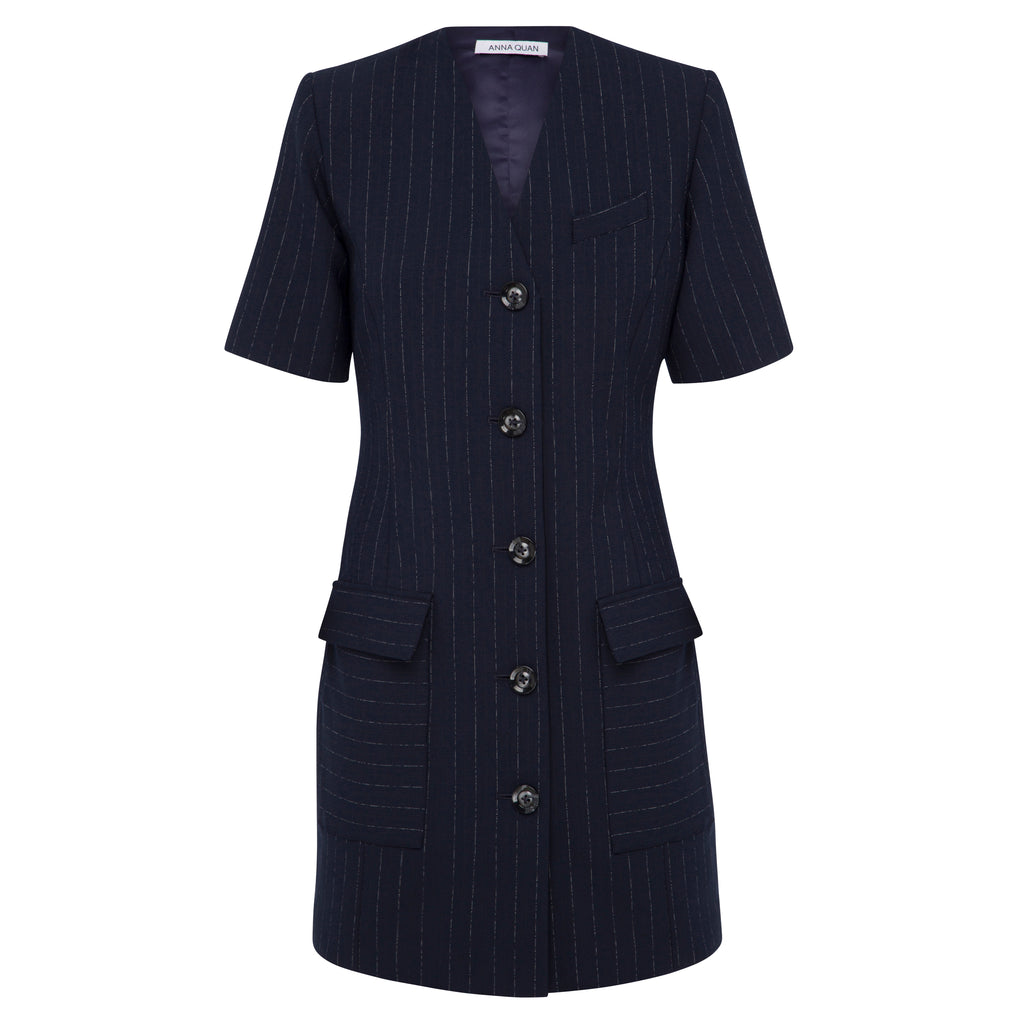 Portia Dress (chalk stripe)