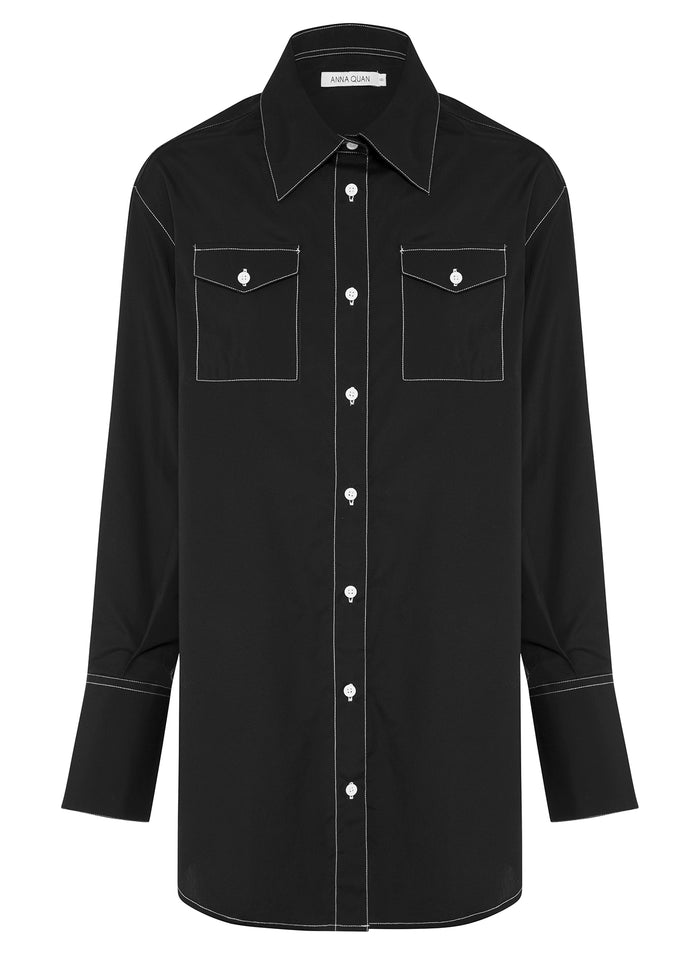 RALPH shirt (BLACK w/ WHITE STITCH)