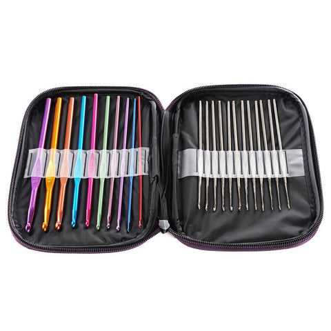 22Pcs Set Multi-Color Aluminum Crochet Hooks