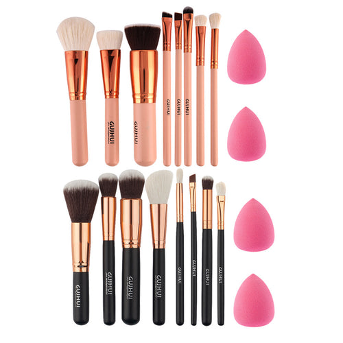 Makeup Brush Set - 8Pc + 2pc Sponge Puff