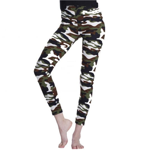 Brown Elastic Camouflage Leggings