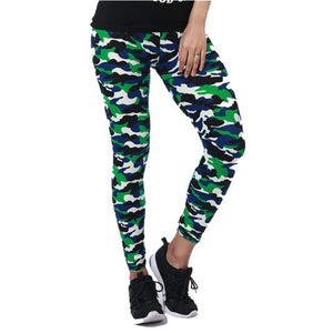Green Elastic Camouflage Leggings