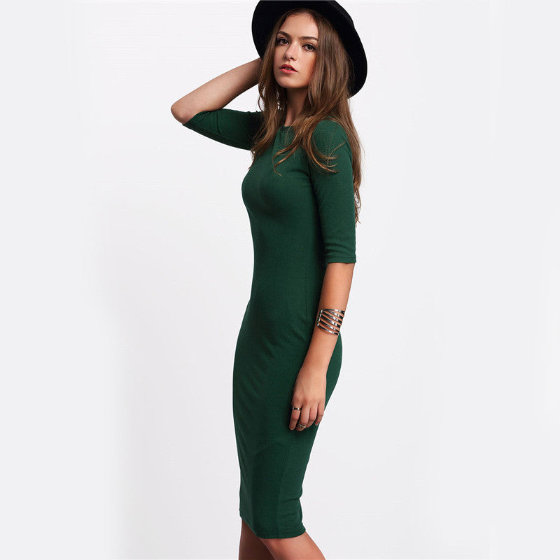 Casual Bodycon Dress With Sleeves