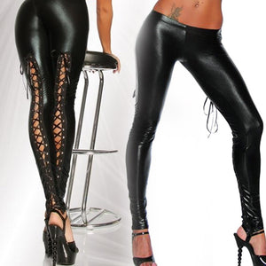 Black Faux Leather Gothic Leggings