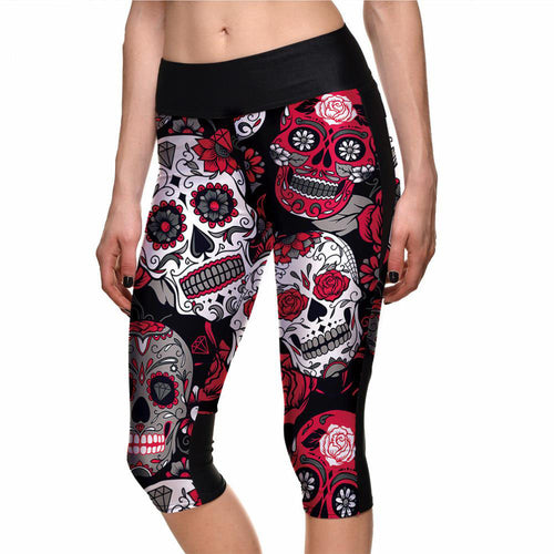 Red White & Gray Skulls Capri Leggings