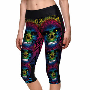 Skull Flower Capri Leggings