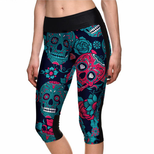 Multi Color Skulls Capri Leggings