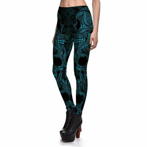 Blue Mask Skeleton Leggings
