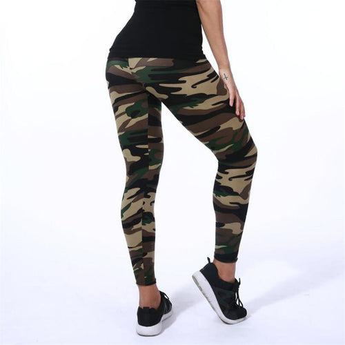 Black Elastic Camouflage Leggings