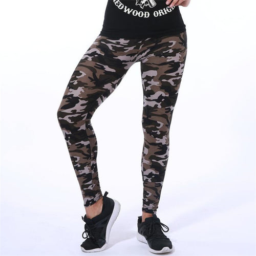 Dark Elastic Camouflage Leggings