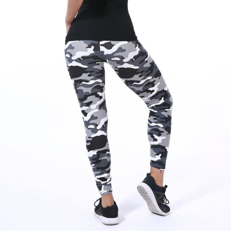 Gray Elastic Camouflage Leggings